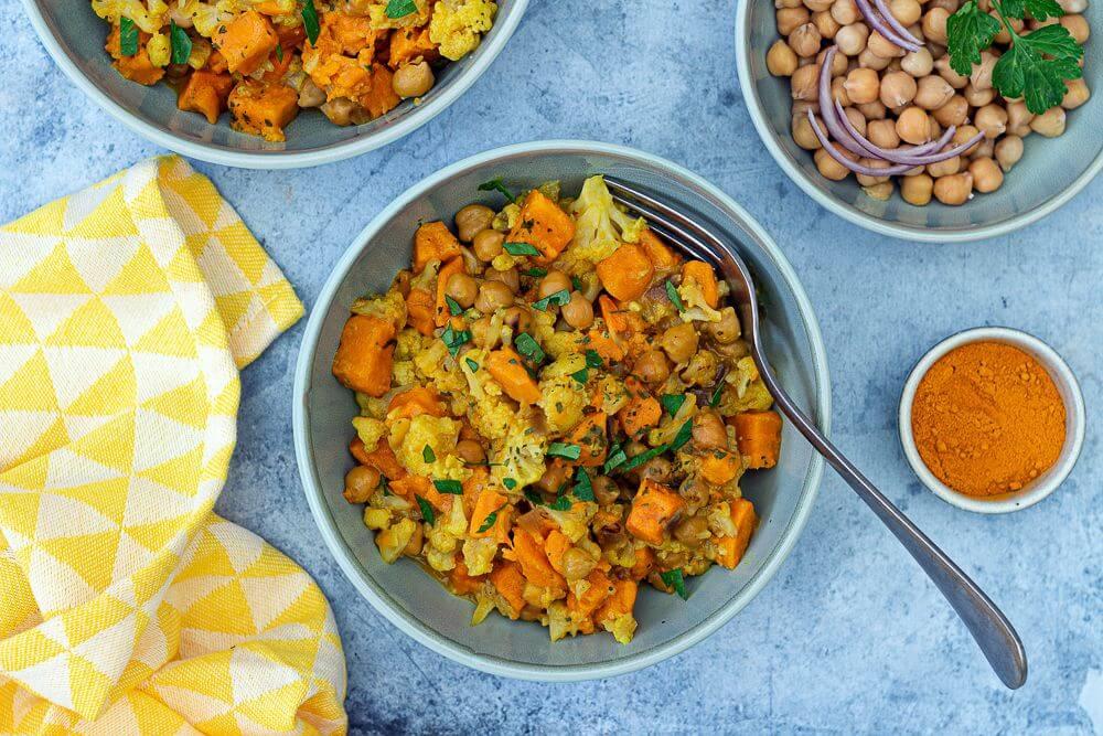 Curry de patates douces et de chou-fleur